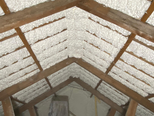 inside roof of house with insulation foam