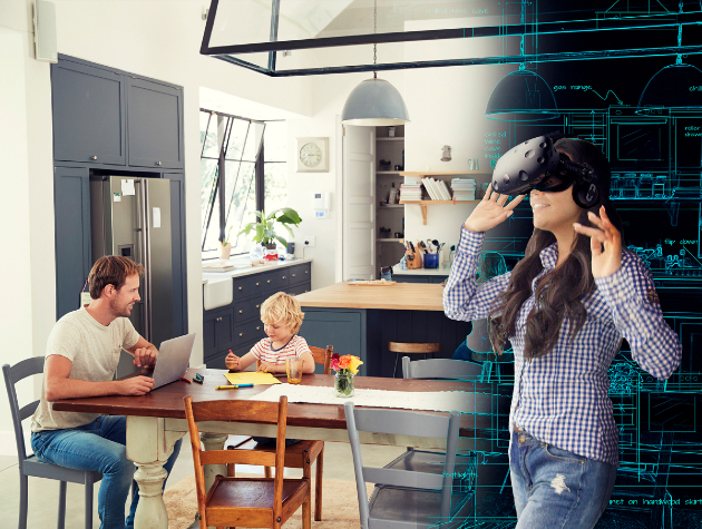 woman wearing vr headset next to man and boy sat at kitchen table copy copy