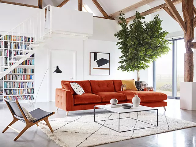Grand Designs Farnham right hand facing grand chaise sofa in terracotta velvet 2199 available exclusively at DFS 2 1