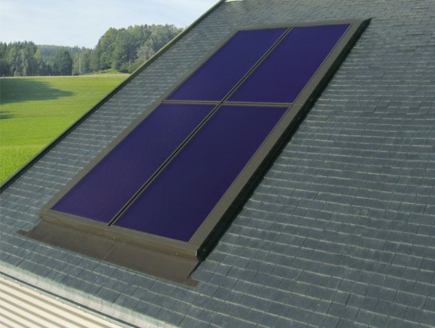 flat plate ST solar panel system on roof top of house