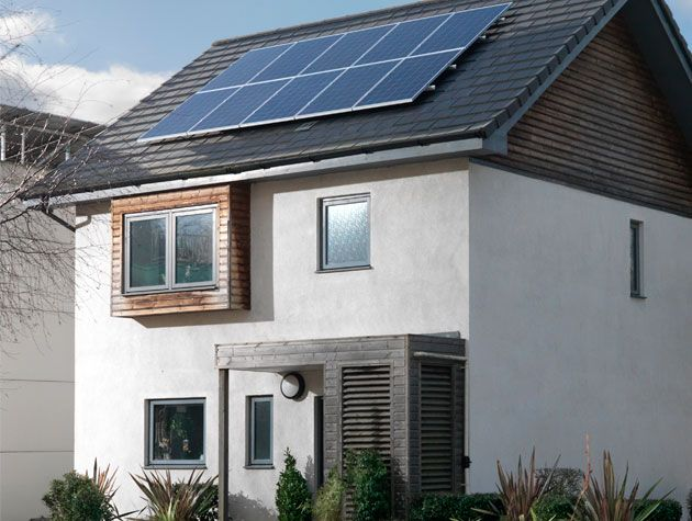 house with roof top six panel solar panel system ikea