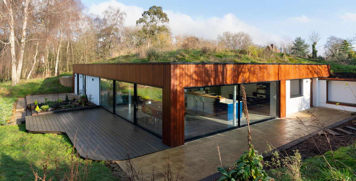 Exterior of the Grand Designs self-heating house in Bletchley