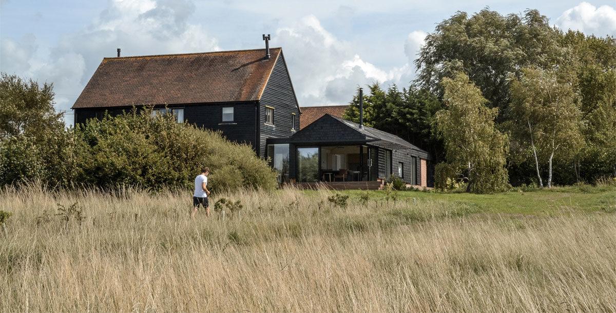 rural house with air source heat pump