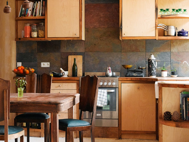 Kitchen made from salvaged oak from old sea defences