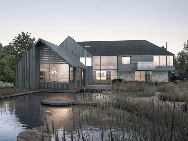 Larch-wrapped house with natural swimming pool in Chichester from the new series of Grand Designs