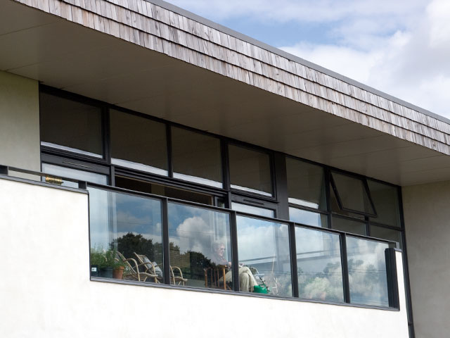 The balcony of the Midlothian house from Grand Designs