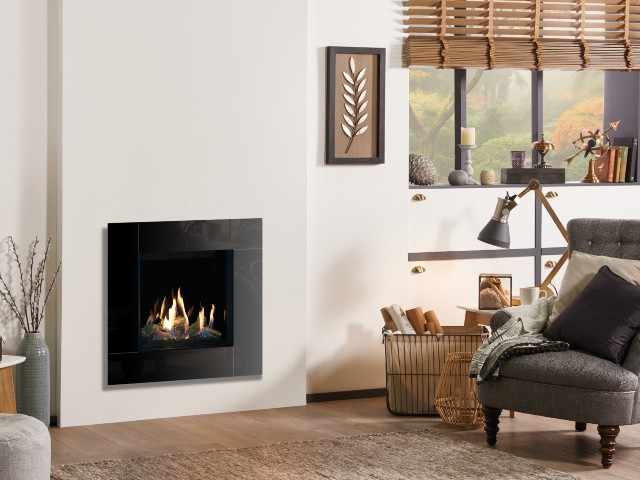 Contemporary fireplace. Gas stove